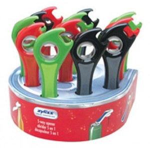 Zyliss 5 Way Opener, Assorted Colors - Easily opens metal bottle caps, soda pop tops, machine sealed plastic bottles and tuna can pull, Designed to break the vacuum seal on hard to open jars