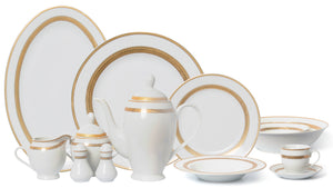 Joseph Sedgh Tableware G093-57 57 Piece Fine Porcelain Dinnerware Set, Caramel Gold - Service for 8