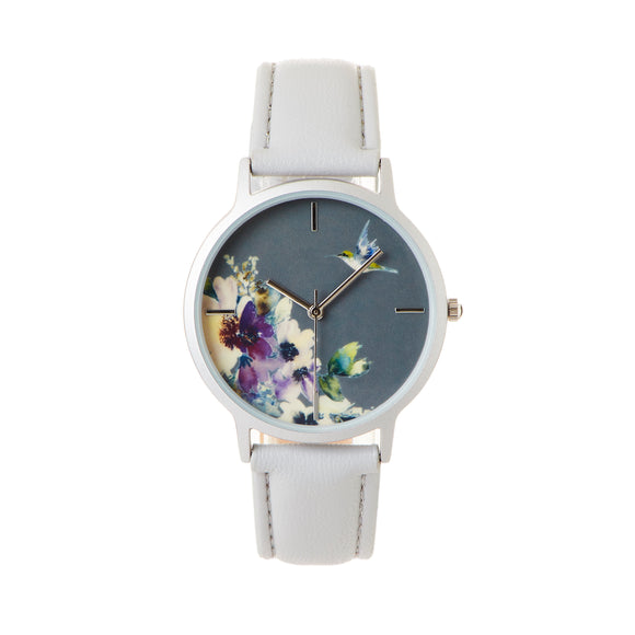 Geneva Dazzling Floral Watch with Leather Band, Grey