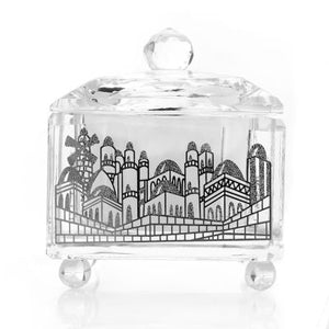 A&M Judaica Schonfeld Collection Crystal Honey Dish with Silver Jerusalem