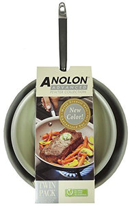 "Anolon 084430 Pewter Collection Hard Anodized 10"" and 12"" Skillet Set, Set of 2 FRYPAN"