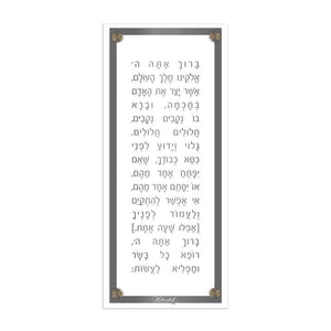 Waterdale Lucite Basic Modern Asher Yatzar Plaque, Grey  Ashkenaz