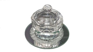 "A&M Judaica 95732A 2.25"" Round Crystal Salt Honey Holder with Cover"