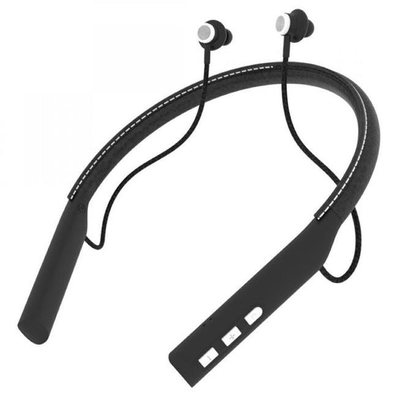 Impecca EBN-500BT Bluetooth 5.0 Leather Neckband Earbuds, Magnetic Earbuds, Mic, Remote