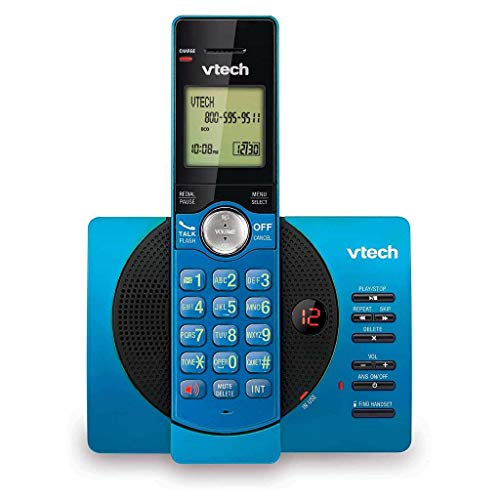 VTech Cordless Telephone CS6929-18 DECT 6.0 Expandable with Answering System and Caller ID, Blue/Black, Wall Mountable