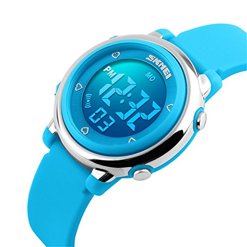 Skmei Kid's Digital LED Silicone Watch, Blue - Waterproof, Alarm, Stopwatch