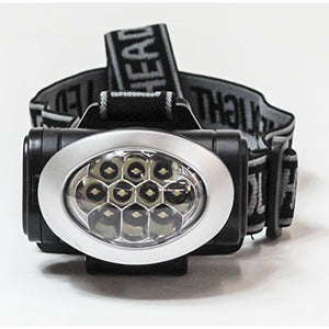 Impecca HE1040KS Hi-Lite 10-LED 20 Lumen, 3 Settings, Water Resistant, Headlamp Black & Silver Includes 3xAAA