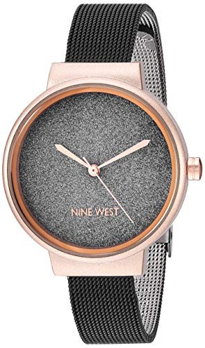 Nine West Women's Rose Gold-Tone and Black Mesh Watch