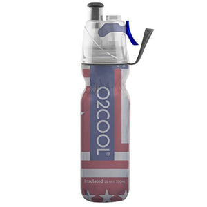 O2COOL HMCDP07 20 Oz ArcticSqueeze Insulated Mist 'N Sip Squeeze Bottle, Patriotic