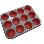 La Patisserie MU12S 12 Cup Muffin Pan with Silicone Cups