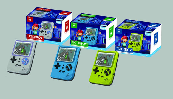 Samvix Rechargeable Kosher Game Console TigerBoy with Super Mario and Many More Games, Full Colored Screen, Grey