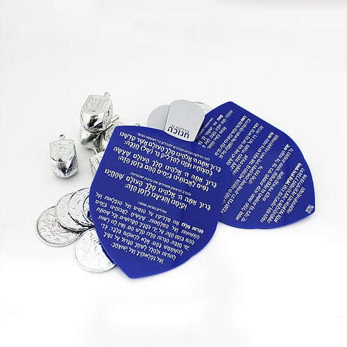 Waterdale Lucite Dreidel Chanukah Blessings Card - Blue & Silver