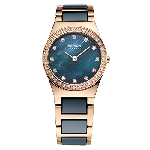 Bering Women's Ceramic Collection Watch, Gold / Blue