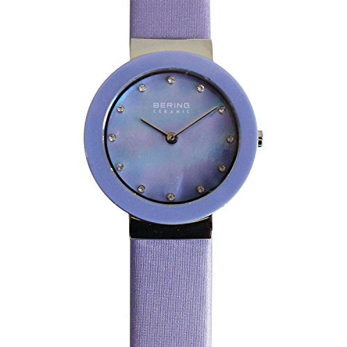 Bering Women's Ceramic Watch with Satin Strap, Purple