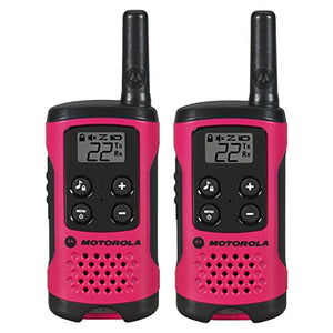 Motorola T107 16 Miles 22 Channel 2 Two Way Radio Walkie Talkie, Pink - 2 Pack - Requires 2 x AA Batteries WALKTALK