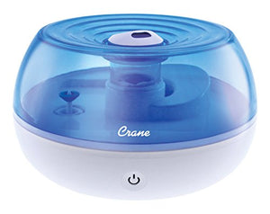 Crane Personal Ultrasonic Cool Mist Humidifier, Great for Travel, 0.2 Gallon, Filter Free, Blue and White