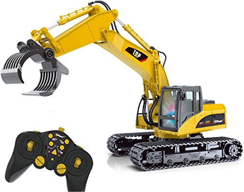 Top Race® TR-215 15 Channel Remote Control RC Fork Excavator, Construction Grapple Fork Tractor - Metal Fork