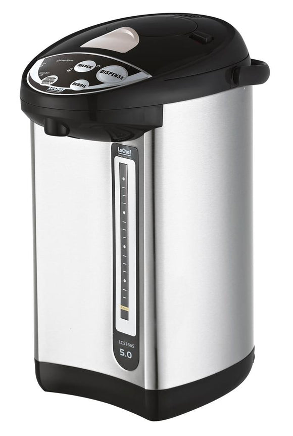 Le Chef LC5166S 5QT Hot Water Pump Pot, Stainless Steel with Auto Dispense, Shabbos mode, PUMPPOT Can add Cold Water On Yom Tov