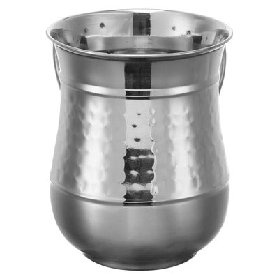 A&M Judaica 26908 Stainless Steel Washing Cup, Hammered/Shinny DISPLAY