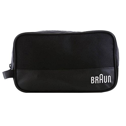 Braun Men's Grooming Travel Toiletry Shaver Case Wash Bag Zippered (Black)
