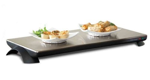 Toastess TWT-40 Silhouette 1000-Watt Cordless Classic Warming Hot Plate Tray, Stainless Steel - 4 Plate, Cordless use for up to 60min (26