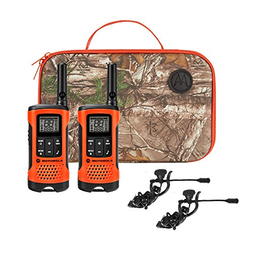 Motorola Talkabout T265 25-Mile 22-Channel Rechargeable 2-Way Radio Walkie Talkie Bundle, Orange - Includes: carry case, 2 battery packs, 2 earbuds, 2 belt clips, charging adapter & user guide WALKTALK