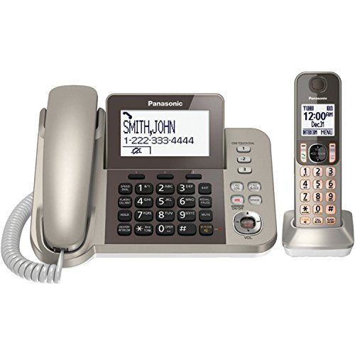 Panasonic KX-TGF350N DECT 6.0 1-Handset Corded/Cordless Telephone, Champagne Gold - Answering Machine; Talking Caller ID; Baby Monitor; 3-way Conference; Headset Port; Up to 6 Handsets