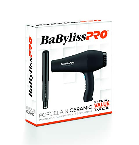 BaBylissPRO Porcelain Ceramic Hair Blow Dryer and Straightening Iron, Carrera and 1