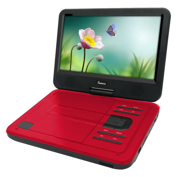Impecca DVP1017R 10.1 Inch Portable DVD Player, 6 Hour Rechargeable Battery, Swivel Screen,Supports USB & S, Red