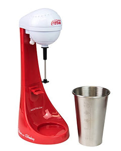 Nostalgia MLKS100COKE Two-Speed Electric Coca-Cola Limited Edition Milkshake Maker and Drink Mixer, Includes 16-Ounce Stainless Steel Mixing Cup & Rod-Red, 16 oz