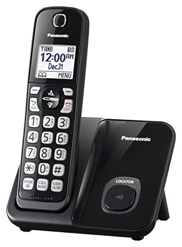Panasonic KX-TGD510B DECT 6.0 1 Handset Cordless Phone, Black - Caller ID; Call Block; 3-way Conference; Up to 6 Handsets