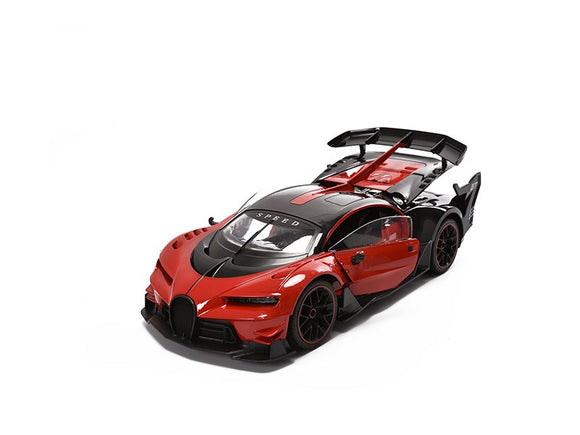 Wonderplay Super Car 1:12 Scale RC Remote Control Race Car w Lights, Rechargeable, Opening Doors and Rear, Blue or Red (2x AA)