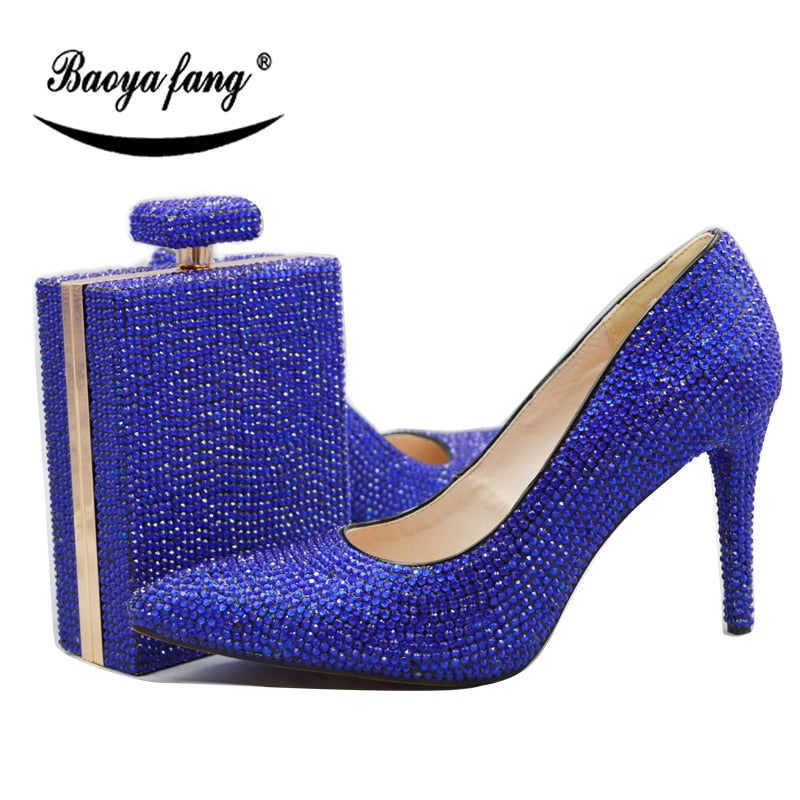 Royal Blue Orange Crystal Shoes With Macthing Bags 11cm High heels Pumps  Pointed Toe women ...