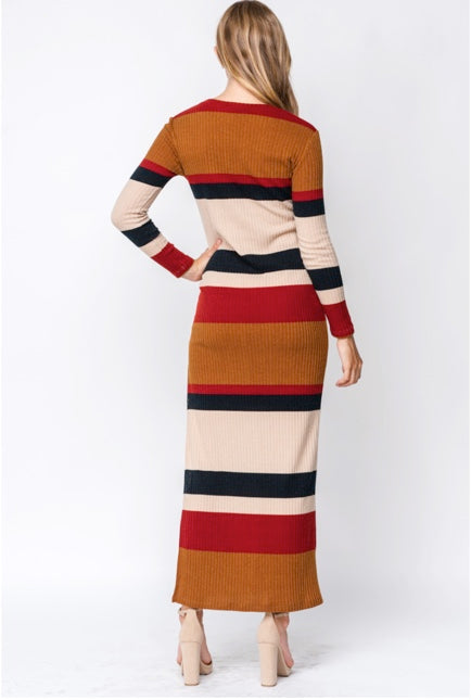 Striped Maxi with Slit - Wild Soul