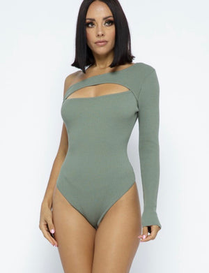 Dynamic Asymmetrical Knit Bodysuit - Wild Soul