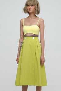 LIME GREEN A-LINE SKIRT