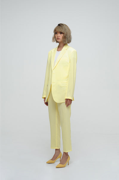 Canary Yellow Blazer And Cropped Trouser Suit Set