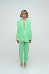 SPRING GREEN BLAZER AND CROPPED TROUSER SUIT SET
