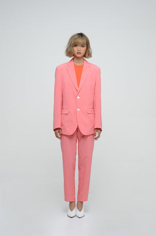 SALMON PINK BLAZER AND CROPPED TROUSER SUIT SET