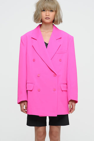 Neon Pink Oversized Double Breasted Blazer
