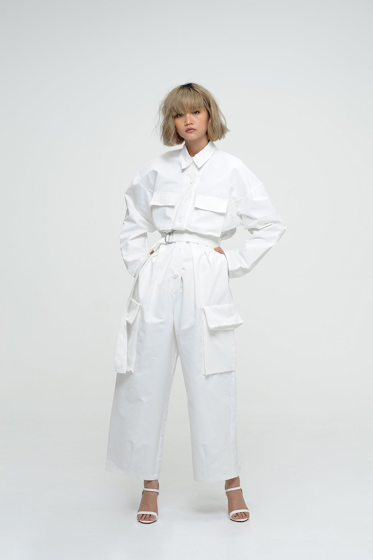White Utility Jumpsuit