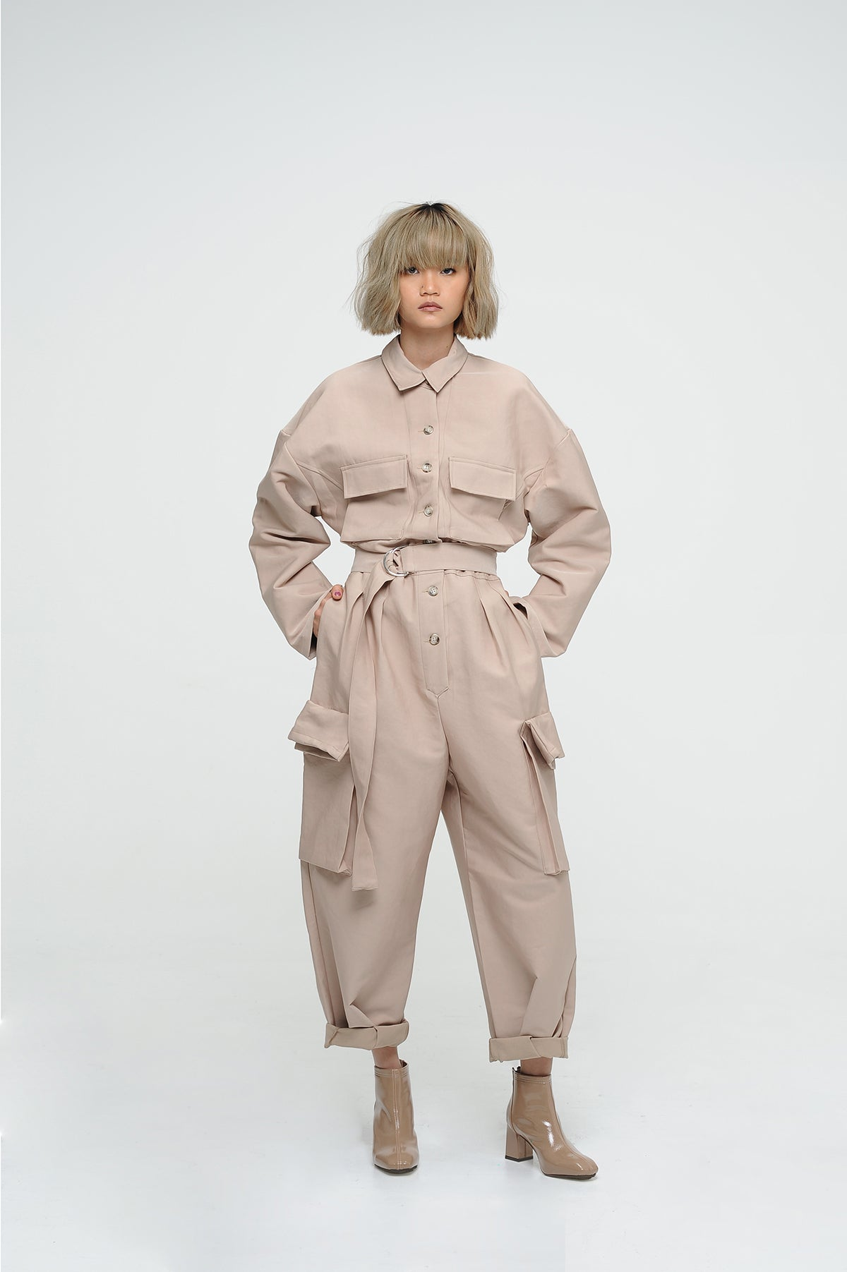 WHEAT UTILITY JUMPSUIT