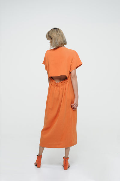 CORAL ORANGE CROPPED-BACK  DRESS