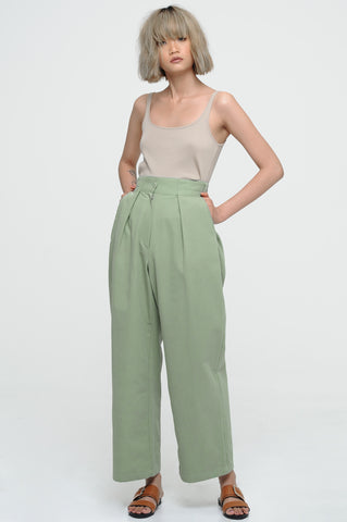 Sage Front Pleat Trousers