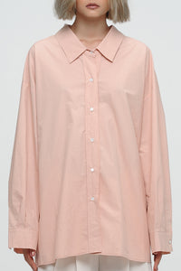 Melon Shrug Back Button-Down Shirt