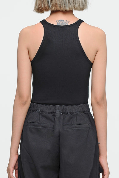 Black Halter Ribbed Top