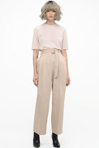 Khaki Front Pleat Trousers