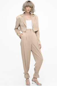 Khaki Cropped Jacket and Cinched Trousers Suit Set
