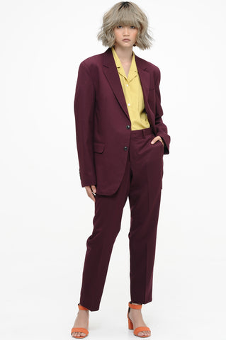 Wine Single Breasted Suit Set