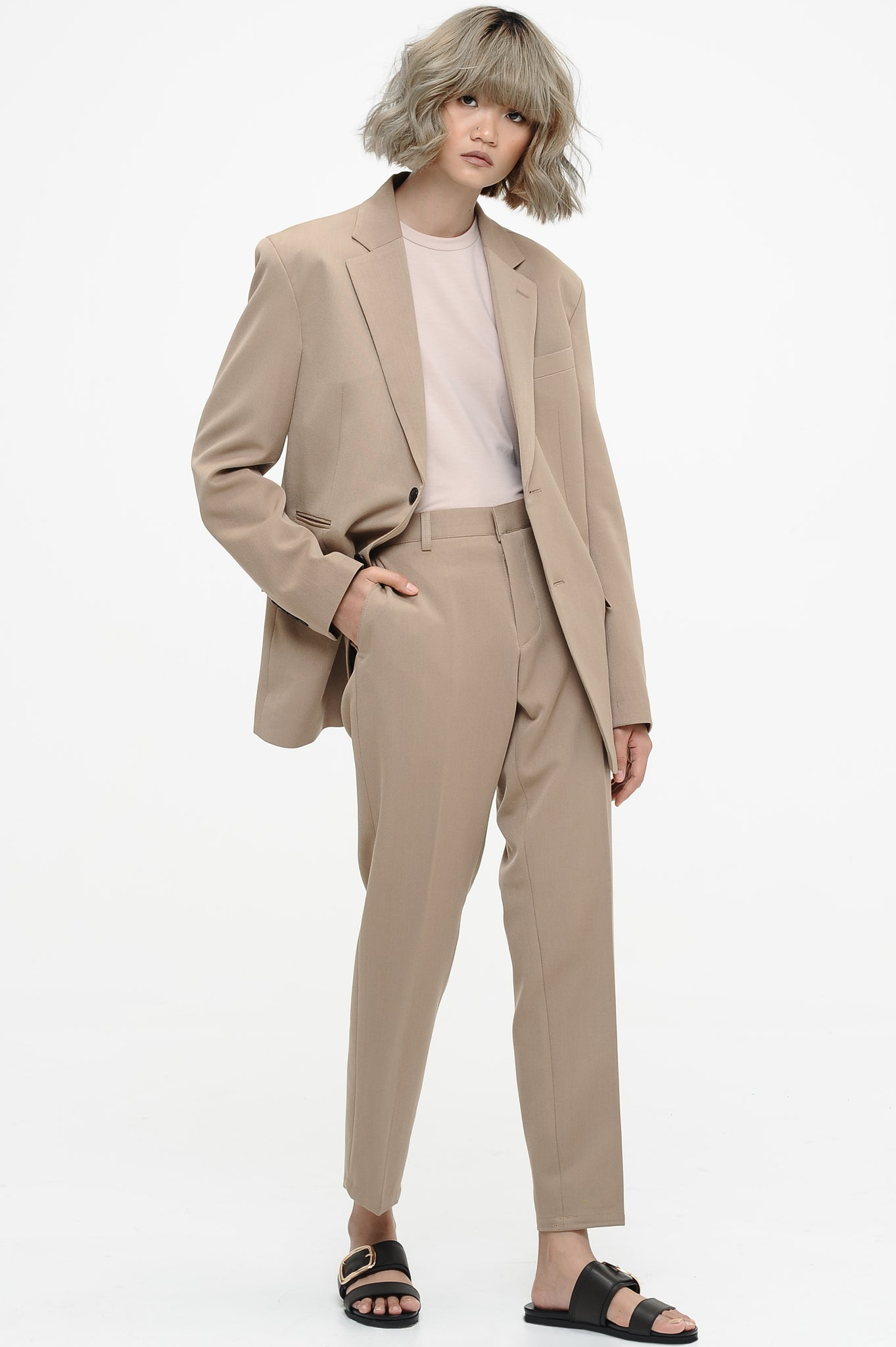 Khaki Single Breasted Suit Set